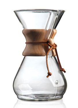 Zaparzacz Chemex Coffee Maker z drewnianym kołnierzem.