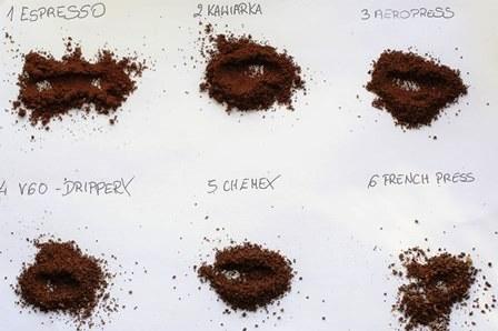 Różne stopnie mielenia ziaren w zależności od metody parzenia.